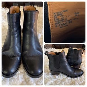 COACH black leather Chelsea booties